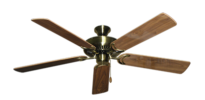 "Picture of Riviera Antique Brass with 56"" Walnut Gloss Blades"