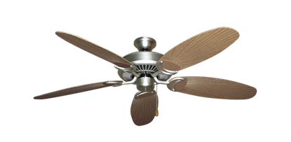 """Picture of Riviera Satin Steel with 52"""" Outdoor Leaf Tan Blades"""