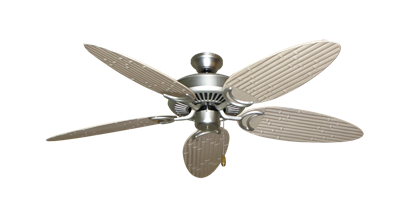 """Picture of Riviera Satin Steel with 52"""" Outdoor Bamboo Distressed White Blades"""