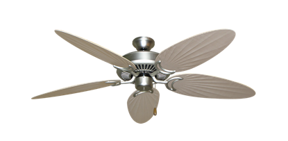 """Picture of Riviera Satin Steel with 52"""" Outdoor Palm Distressed White Blades"""