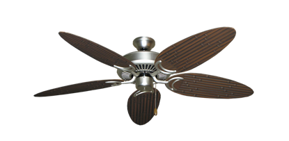 """Picture of Riviera Satin Steel with 52"""" Outdoor Bamboo Oil Rubbed Bronze Blades"""