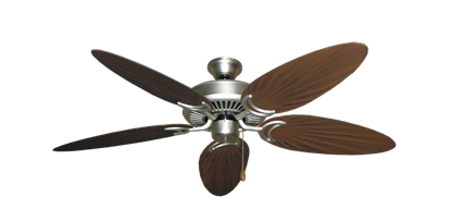 """Picture of Riviera Satin Steel with 52"""" Outdoor Palm Oil Rubbed Bronze Blades"""