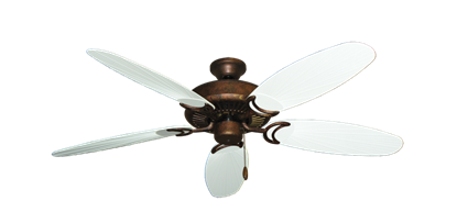"""Picture of Riviera Burnished Copper with 52"""" Outdoor Leaf Pure White Blades"""