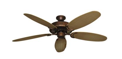 """Picture of Riviera Burnished Copper with 52"""" Outdoor Wicker Tan Blades"""