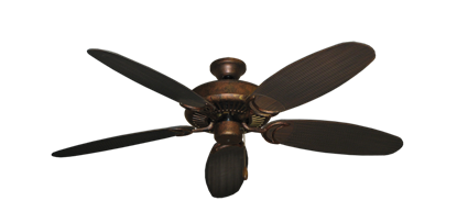 """Picture of Riviera Burnished Copper with 52"""" Outdoor Wicker Oil Rubbed Bronze Blades"""