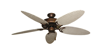 """Picture of Riviera Burnished Copper with 52"""" Outdoor Bamboo Distressed White Blades"""