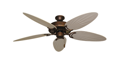 """Picture of Riviera Burnished Copper with 52"""" Outdoor Palm Distressed White Blades"""