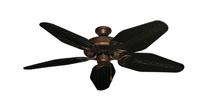 """Picture of Riviera Burnished Copper with 52"""" Outdoor Weave Oil Rubbed Bronze Blades"""