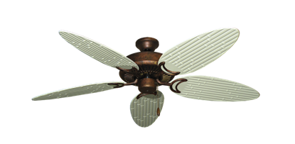 """Picture of Riviera Burnished Copper with 52"""" Outdoor Bamboo Antique White Blades"""