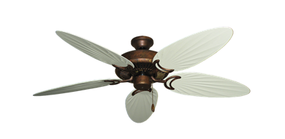 """Picture of Riviera Burnished Copper with 52"""" Outdoor Palm Antique White Blades"""
