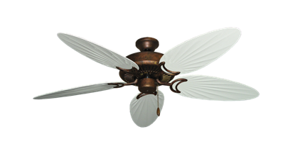 """Picture of Riviera Burnished Copper with 52"""" Outdoor Palm Pure White Blades"""