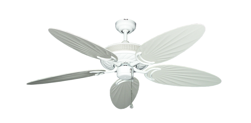 """Atlantis Pure White with 52"""" Outdoor Palm Pure White Blades"""