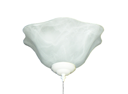 140 Scalloped Glass Bowl Light in White Scavo