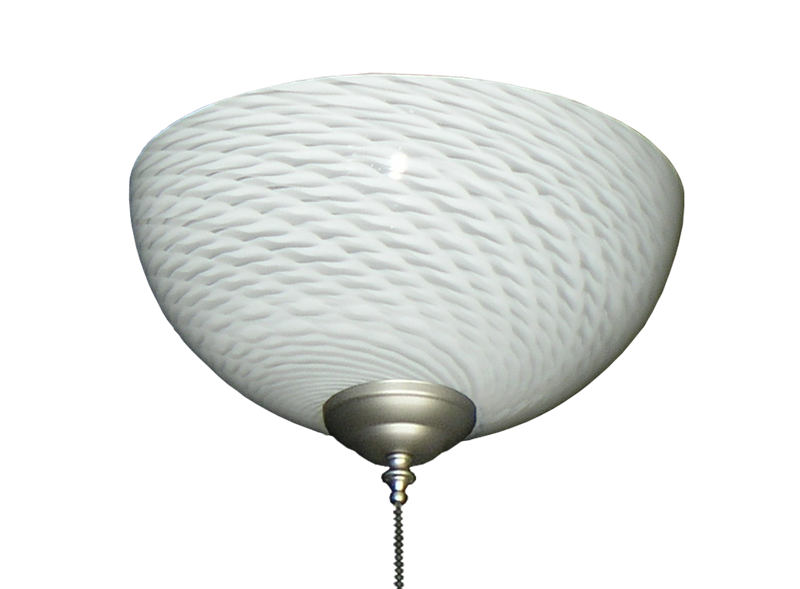 Picture of 2261 Clear with White Swirl Hand-Blown Specialty Glass Bowl Light