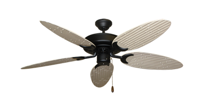 """Raindance Matte Black with 52"""" Outdoor Bamboo Distressed White Blades"""
