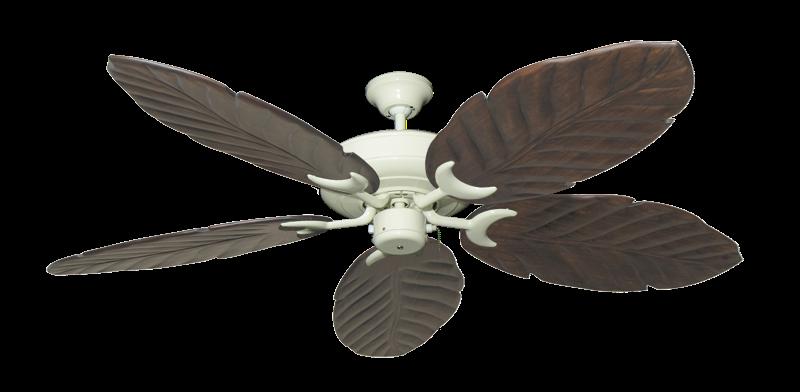 """Raindance Antique White with 58"""" Series 100 Arbor Dark Walnut Blades"""