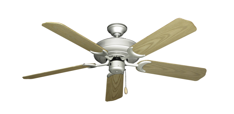 """Picture of Raindance Brushed Nickel with 52"""" Outdoor Bleached Oak Blades"""