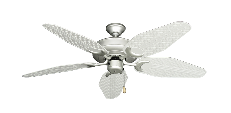 "Picture of Raindance Brushed Nickel with 52"" Outdoor Weave Pure White Blades"