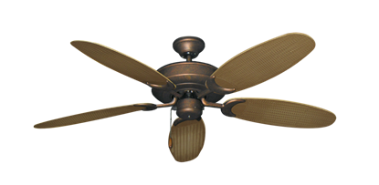 "Picture of Raindance Burnished Copper with 52"" Outdoor Wicker Tan Blades"