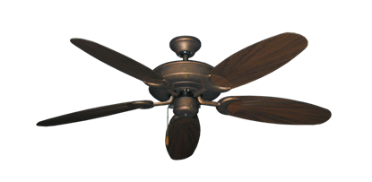 "Picture of Raindance Burnished Copper with 52"" Outdoor Leaf Oil Rubbed Bronze Blades"