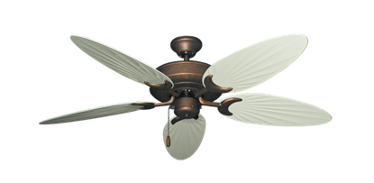 "Picture of Raindance Burnished Copper with 52"" Outdoor Palm Antique White Blades"