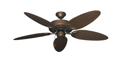 "Picture of Raindance Burnished Copper with 52"" Outdoor Bamboo Oil Rubbed Bronze Blades"