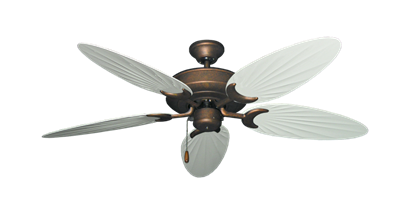 "Picture of Raindance Burnished Copper with 52"" Outdoor Palm Pure White Blades"