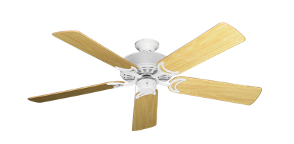 """Picture of Dixie Belle Pure White with 52"""" Honey Oak Gloss Blades"""