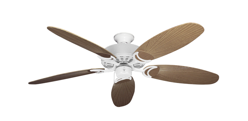 """Picture of Dixie Belle Pure White with 52"""" Outdoor Leaf Tan Blades"""