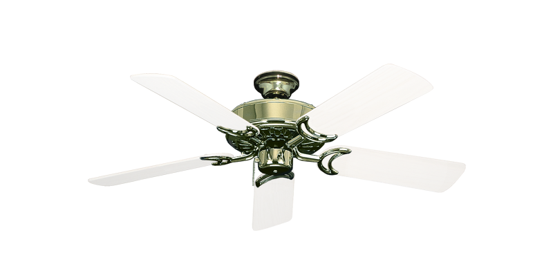"""Picture of Dixie Belle Bright Brass with 44"""" Outdoor Pure White Blades"""