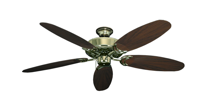 "Picture of Dixie Belle Bright Brass with 52"" Outdoor Leaf Oil Rubbed Bronze Blades"