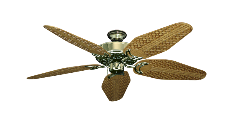 """Picture of Dixie Belle Bright Brass with 52"""" Outdoor Weave Walnut Blades"""