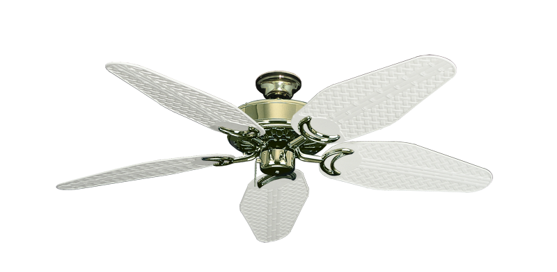 "Picture of Dixie Belle Bright Brass with 52"" Outdoor Weave Pure White Blades"
