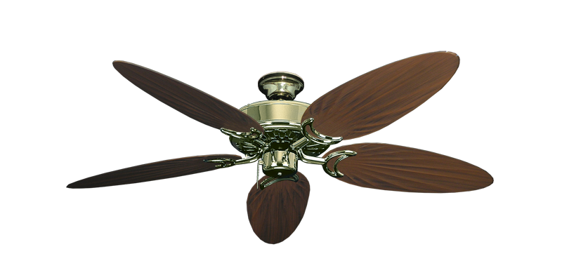 """Picture of Dixie Belle Bright Brass with 52"""" Outdoor Palm Oil Rubbed Bronze Blades"""
