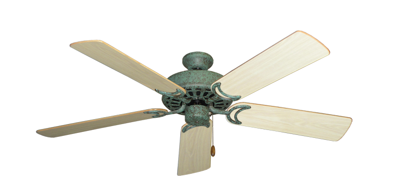 "Picture of Dixie Belle Verde Green with 52"" Bleached Oak Gloss Blades"