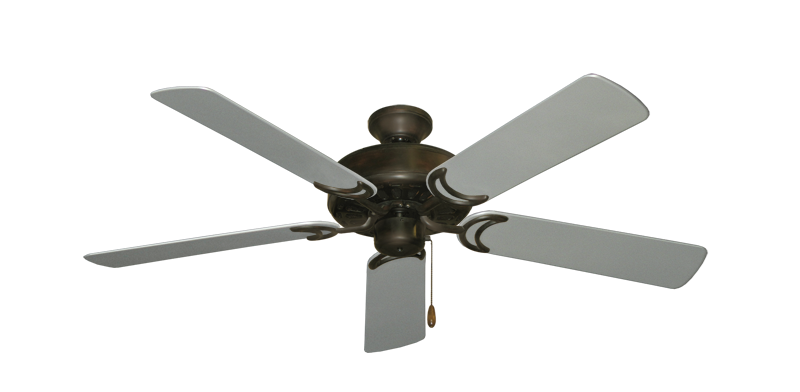 """Picture of Dixie Belle Oil Rubbed Bronze with 52"""" Outdoor Brushed Nickel Blades"""