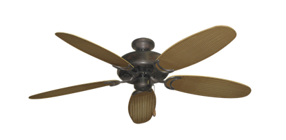 """Dixie Belle Oil Rubbed Bronze with 52"""" Outdoor Wicker Tan Blades"""