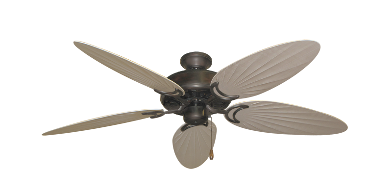 """Dixie Belle Oil Rubbed Bronze with 52"""" Outdoor Palm Distressed White Blades"""