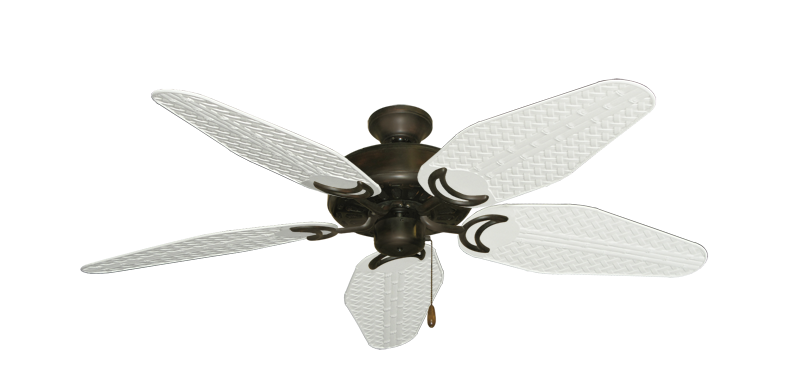 """Dixie Belle Oil Rubbed Bronze with 52"""" Outdoor Weave Pure White Blades"""