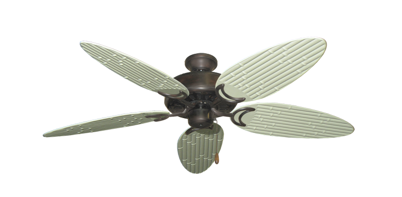 """Picture of Dixie Belle Oil Rubbed Bronze with 52"""" Outdoor Bamboo Antique White Blades"""