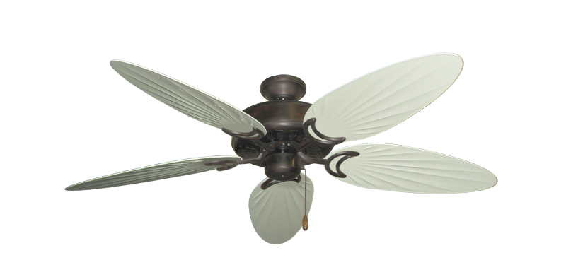 """Dixie Belle Oil Rubbed Bronze with 52"""" Outdoor Palm Antique White Blades"""