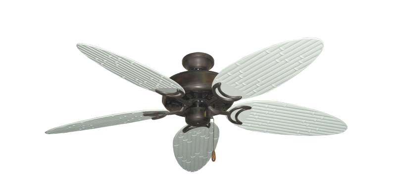 """Picture of Dixie Belle Oil Rubbed Bronze with 52"""" Outdoor Bamboo Pure White Blades"""