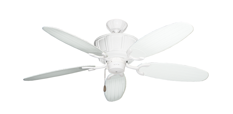 "Centurion Pure White with 52"" Outdoor Wicker Pure White Blades"