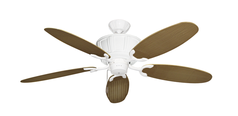 """Picture of Centurion Pure White with 52"""" Outdoor Wicker Tan Blades"""