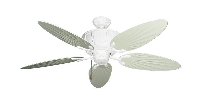 """Centurion Pure White with 52"""" Outdoor Palm Antique White Blades"""