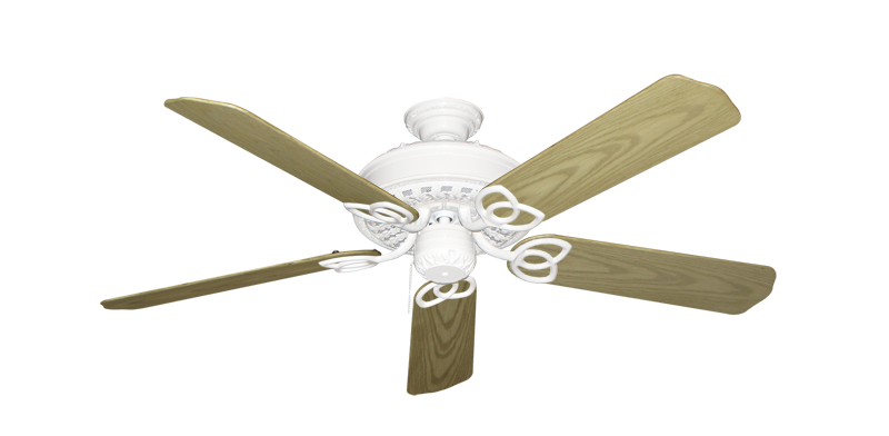 """Picture of Renaissance Pure White with 52"""" Outdoor Bleached Oak Blades"""