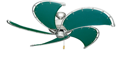 """Picture of Raindance Brushed Nickel BN-1 with 52"""" Nautical Fabric Green Blades"""