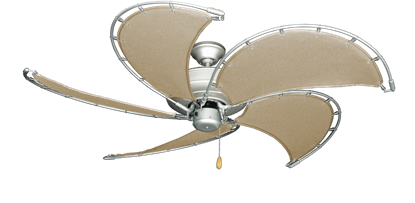 """Picture of Raindance Brushed Nickel BN-1 with 52"""" Nautical Fabric Khaki Blades (add $99.99)"""