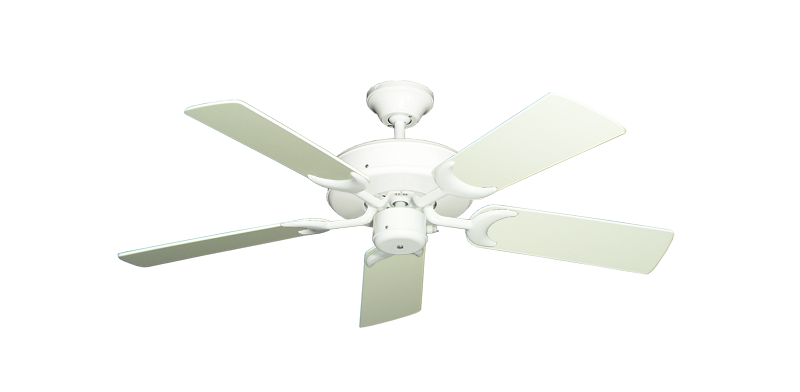 "Picture of Patio Fan Pure White with 44"" Antique White Blades"
