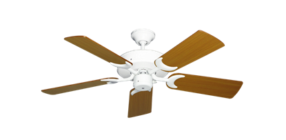 "Picture of Patio Fan Pure White with 44"" Teak Blades"